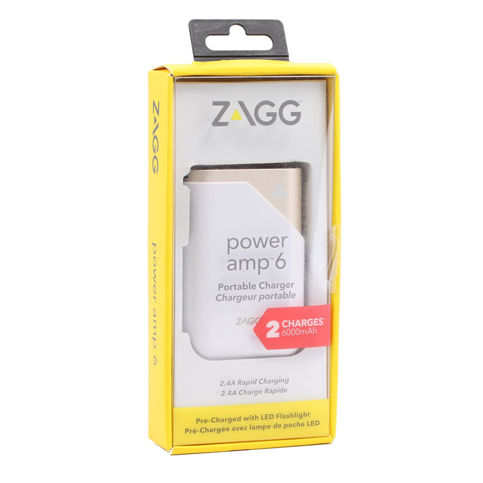 Zagg Power amp 6 Portable Charger, 6000mAh - Gold (Certified Refurbished)