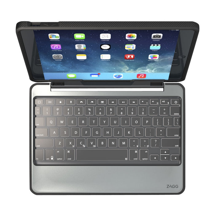 Zagg Rugged Book Durable Keyboard Folio Case for iPad Air / Air2 - Black