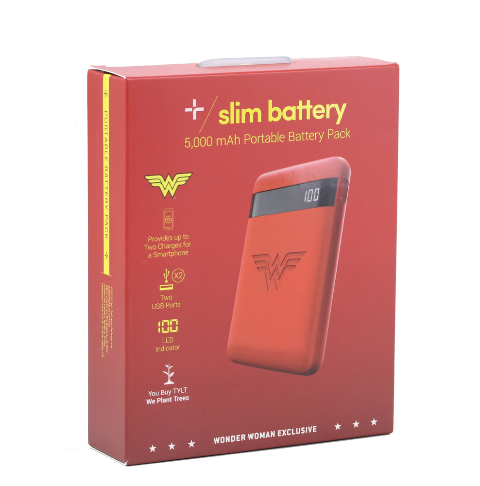 Tylt Wonder Woman 5K Slim Battery Pack - Red