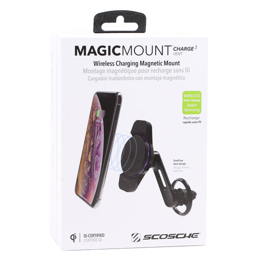 Scosche MagicMount Qi Wireless Charging Magnetic Car Vent Mount - Black