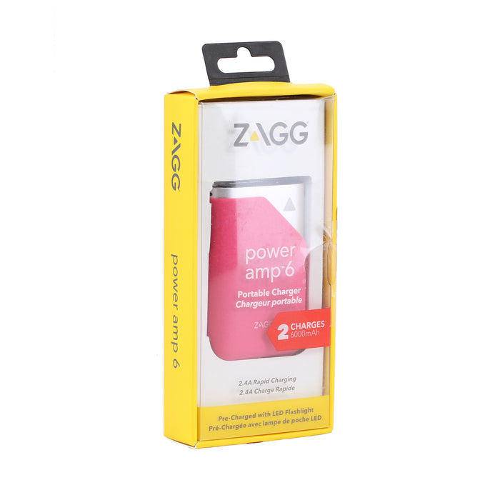 Zagg Power amp 6 Portable Charger Power Bank, 6000mAh - Pink (Pre-Owned)