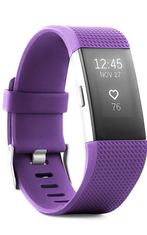 Fitbit Charge 2 Activity Tracker + Heart Rate, Large Band - Plum (Pre-Owned)