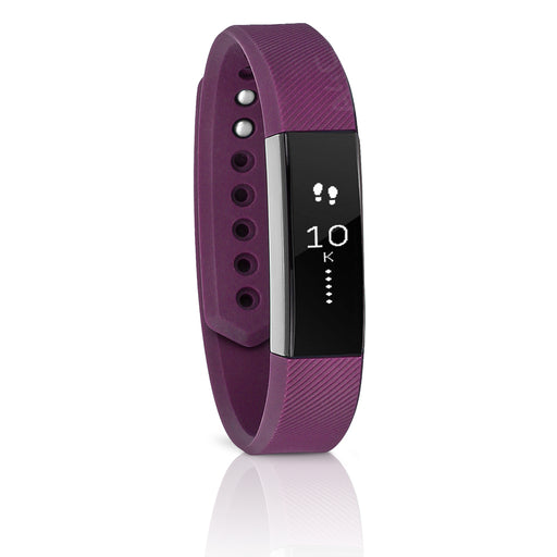 Fitbit Alta Activity Tracker Silicone Watch, Large Band - Plum / Silver (Pre-Owned)