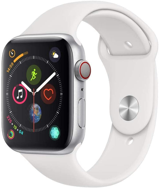 Apple Watch Series 4 GPS+LTE w/ 44MM Silver Aluminum Case & White Sport Band (Pre-Owned)