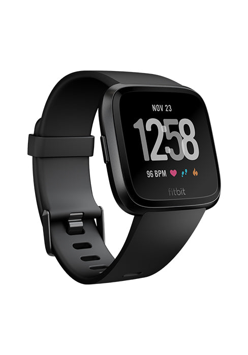 Fitbit Versa Smart Watch with Heart Rate Monitor, S & L Bands Included - Black (Pre-Owned)