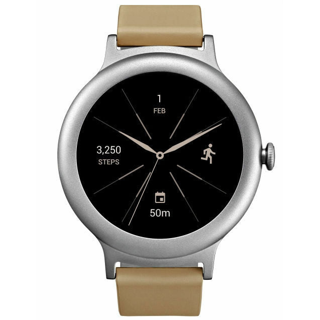 LG W270 Smartwatch with Silver Stainless Steel Case & Ivory Leather Band (Refurbished)