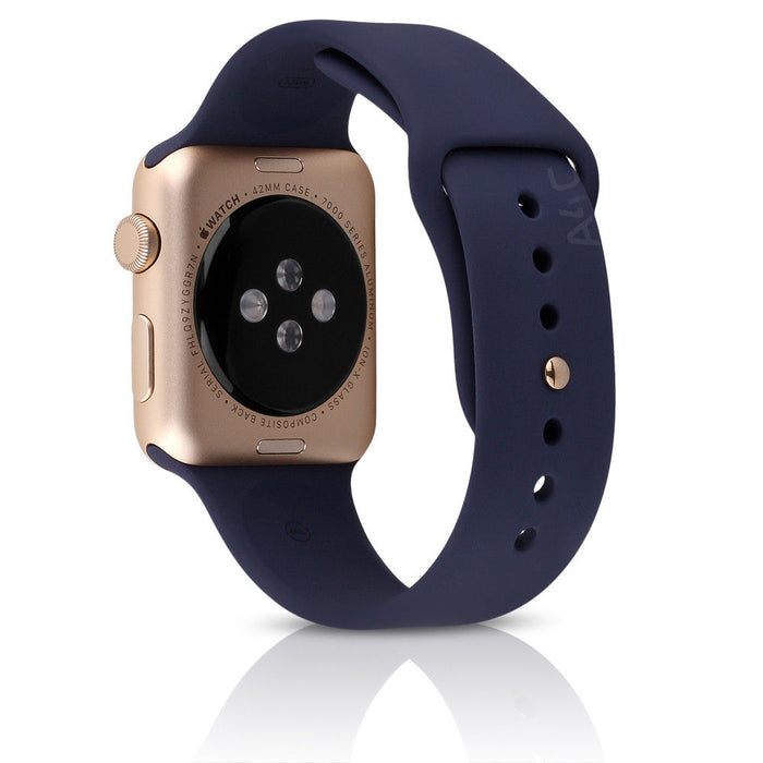 Apple Watch Sport Gen 1 w/ 42mm Gold Aluminum Case & Midnight Blue Band (Refurbished)