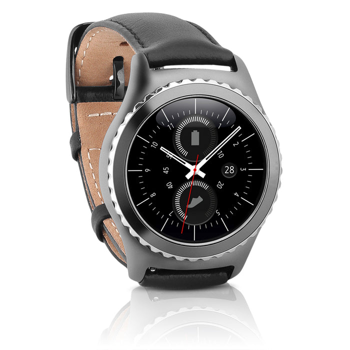 Samsung Watch - Gear S2 Classic (T-Mobile) Stainless Steel Case & Black Leather Band (Refurbished)