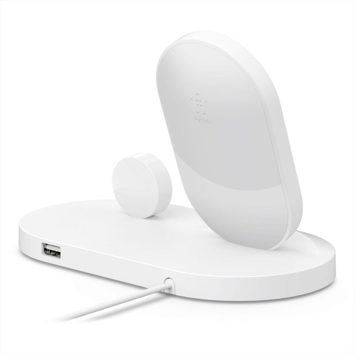 Belkin Boost Up Wireless Charging Dock For iPhone + Apple Watch - White (Refurbished)