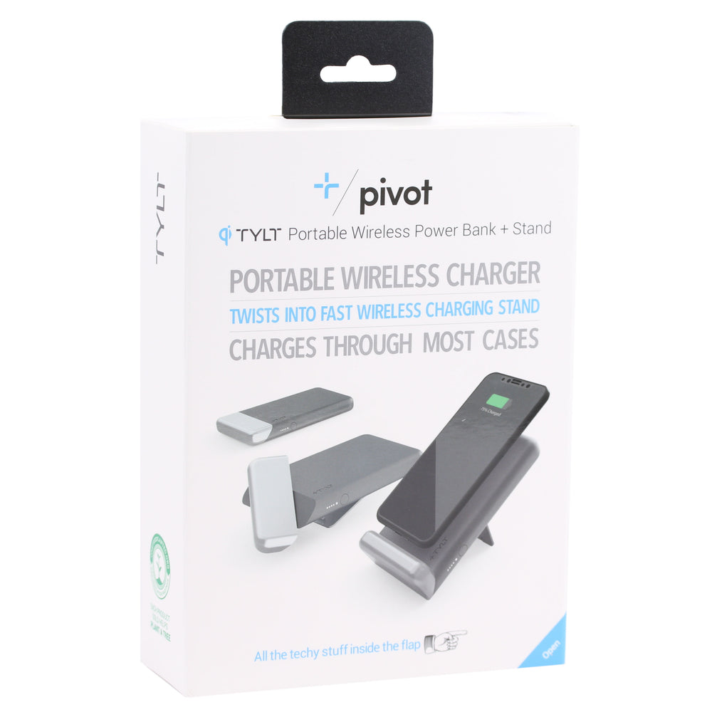 TYLT Pivot Wireless Charging Pad and Stand, 10W - Black / Silver (Refurbished)