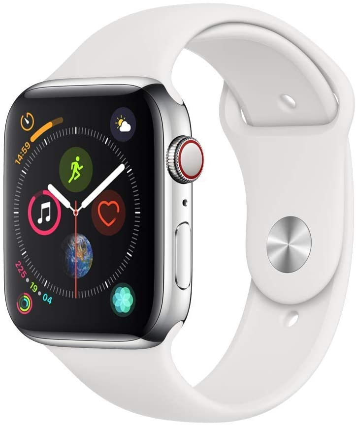 Apple Watch Series 4 GPS+LTE w/ 44MM Stainless Steel Case & White Sport Band (Refurbished)