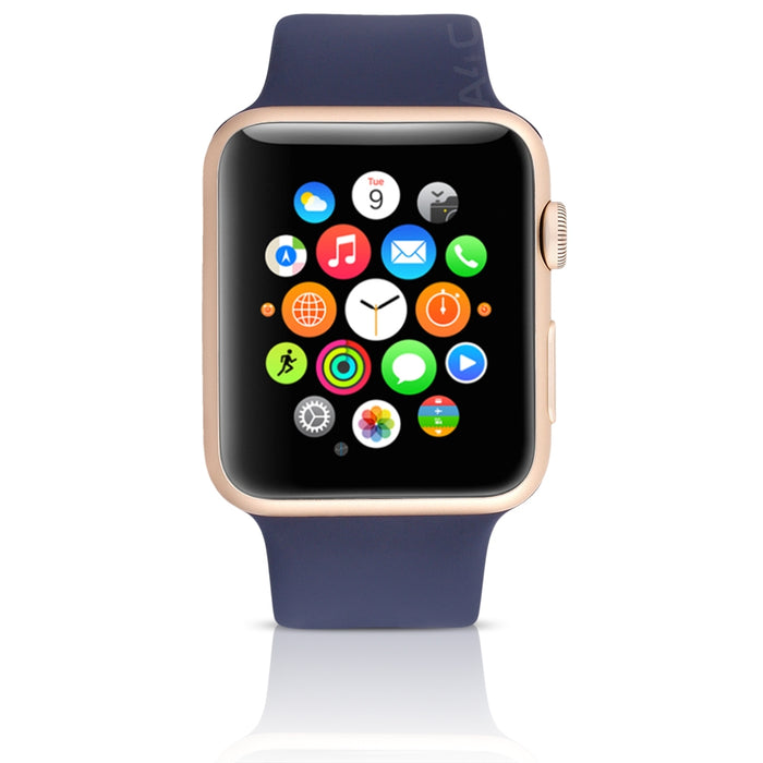 Apple Watch 1st Gen w/ 38MM Gold Aluminum Case & Midnight Blue Sport Band (Pre-Owned - Scratch and Dent)