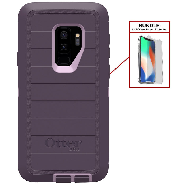 Otterbox Bundle: Heavy Duty Case for Samsung Galaxy S9+ (ONLY) - Case + Anti-Glare Screen Protector (Certified Refurbished)