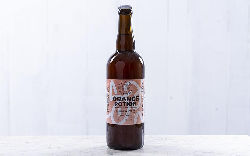 Bière blonde - Orange potion - 5,1° (75cl) Boissons Pierre, Guillaume et Valentin - Brasserie Le Singe Savant - Lille Moulins