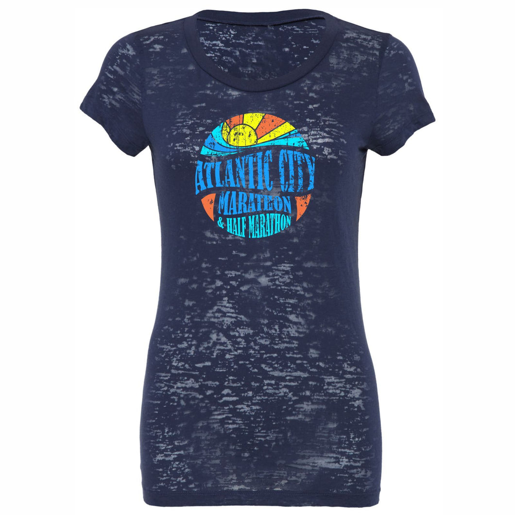 'Mosaic' Women's SS Burnout Tee - Navy - by Bella