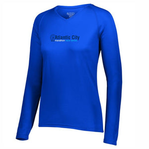 Women's LS Tech V-Neck Tee - Royal 'In Training 2020 Design' - Atlantic City Marathon & Half Marathon