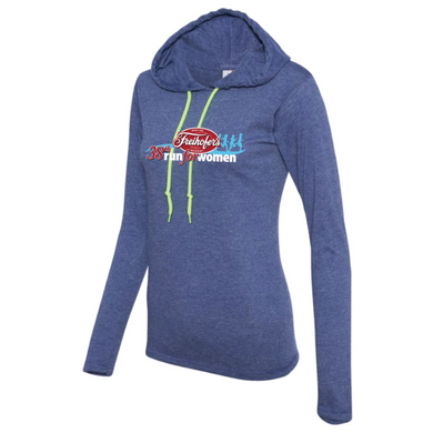 38th Annual' Women's Lightweight Lifestyle Hoody - Heather Blue - by Anvil