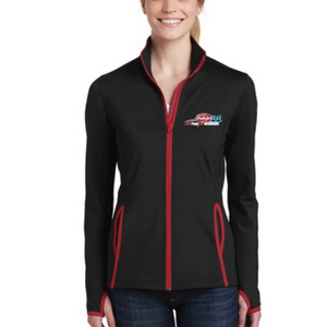 Left Chest Print' Women's Soft-brushed Stretch Full Zip Jacket - Black / True Red - by Sport-Tek