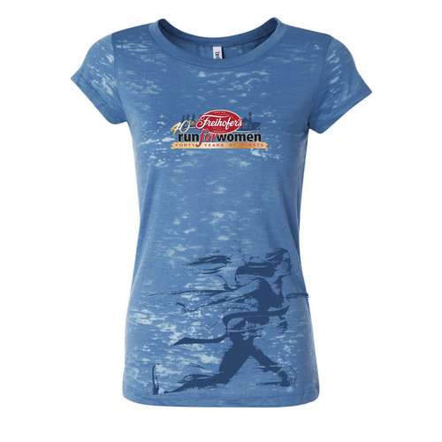 Runner' Women's SS Burnout Lifestyle Tee - Steel Blue - by Bella