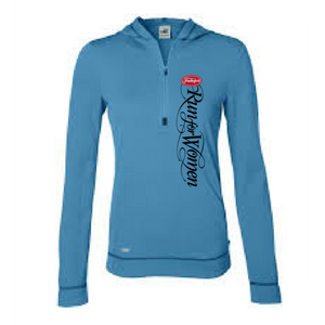 Event Logo' Women's Hooded Tech Pullover 1/2 Zip - Pacific / Sport Dark Navy - by All Sport