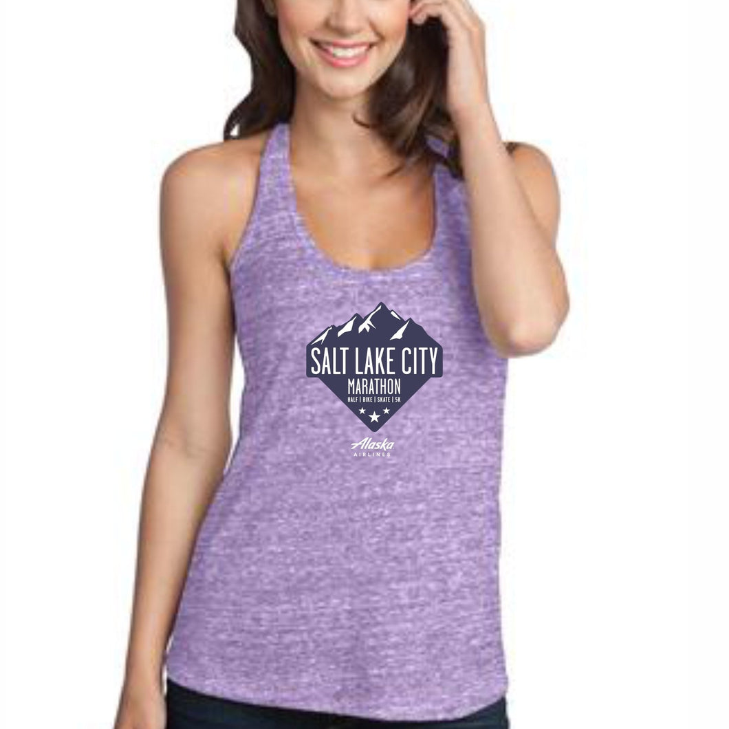 'Range' Women's Tri-Blend Singlet - Eggplant Heather