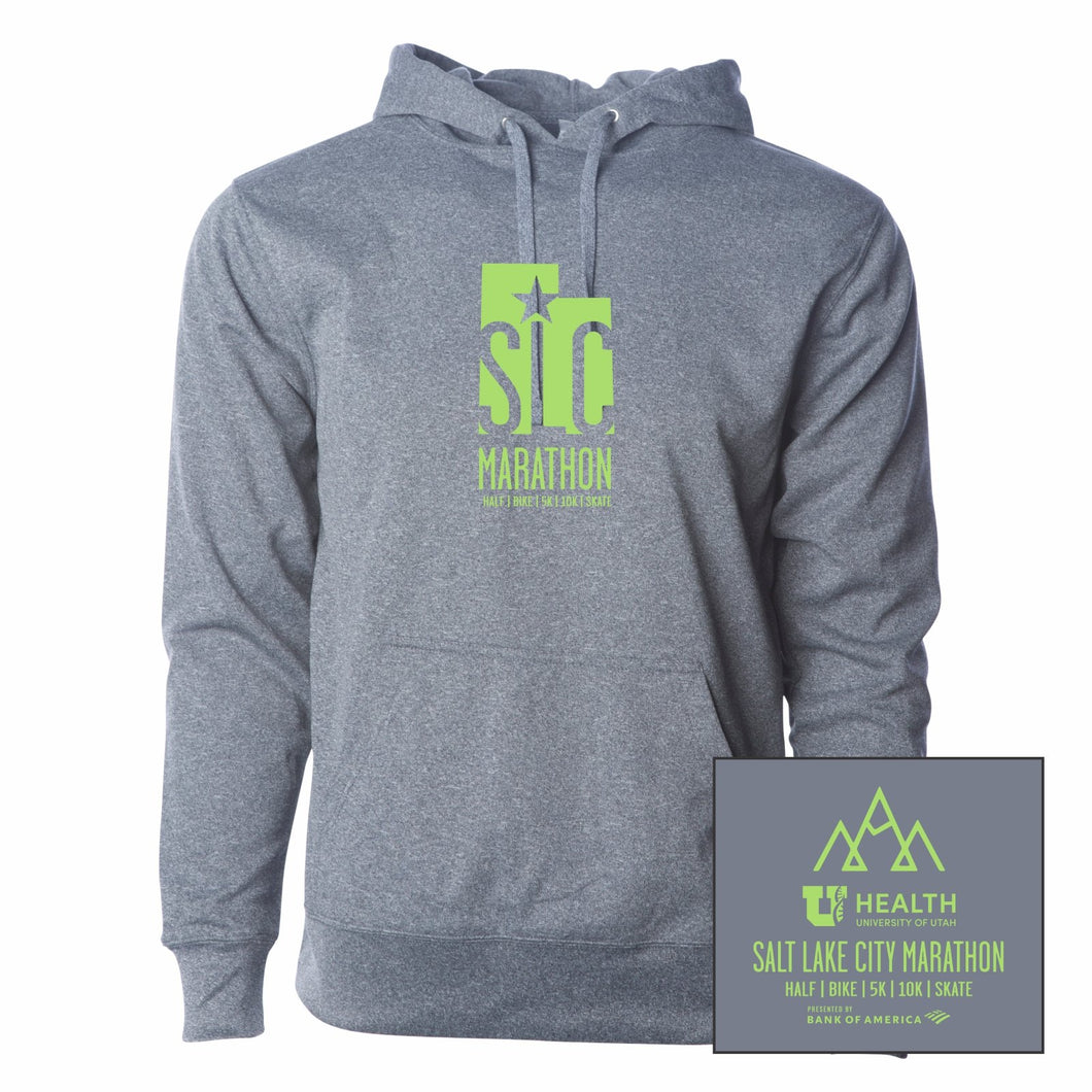 'SLC' Adult Water-Resistant Fleece Hoody - Gunmetal Heather
