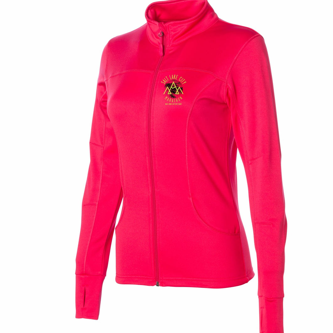 'Left Chest Print' Women's Tech Fleece Zip Lightweight Jacket - Coral