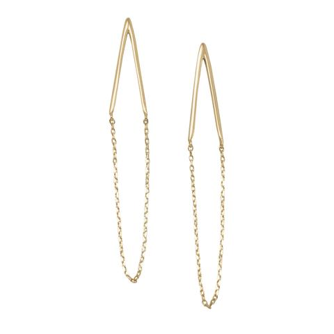 14k Gold Chain Drop Post Earrings, Sleek, Simple Jewelry