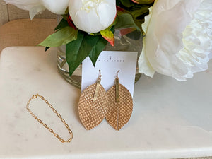 Tan Feather Snake Skin Earrings