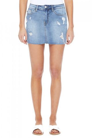 MADDIE LIGHTLY DESTROYED DENIM SKIRT