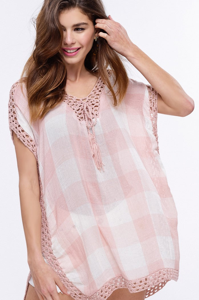 ANGELA CHECKERED PONCHO