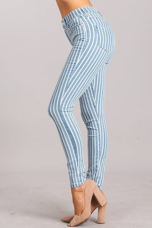BRENNA STRIPED HIGH-RISE ANKLE SKINNY JEANS