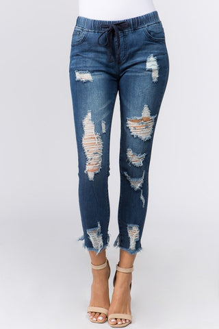 Hillary Distressed Skinny Denim Jogger