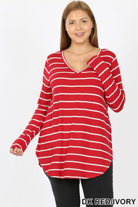 Ali Striped V-Neck Dolphin Hem Top