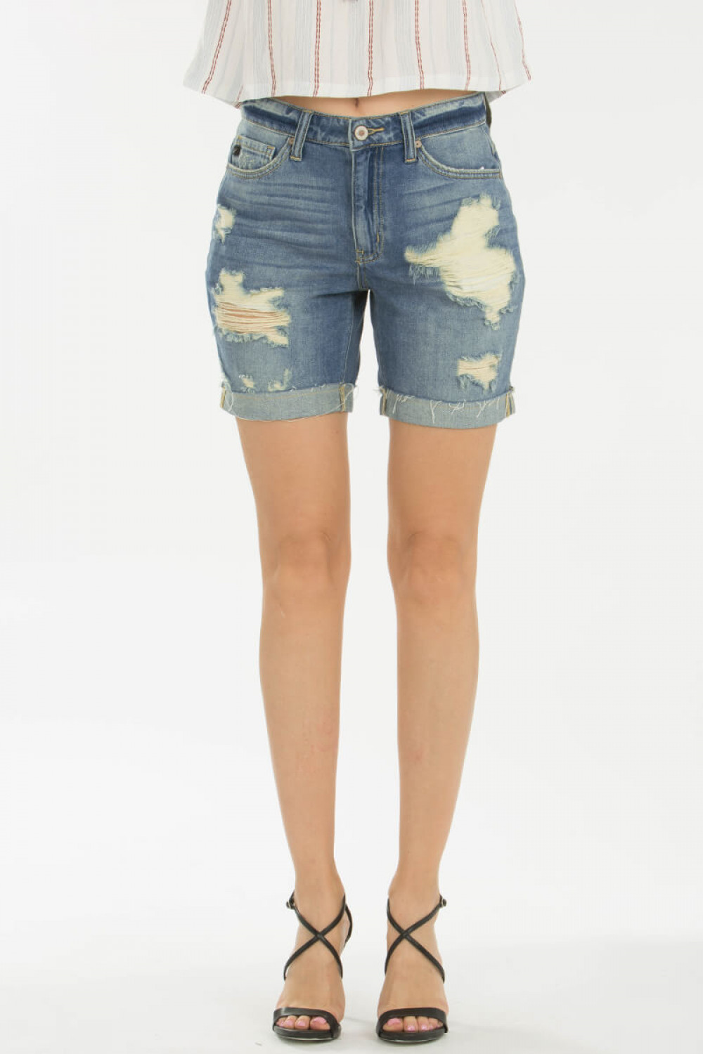 Tinsley Destroyed Cuffed Denim Shorts