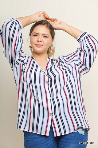 Dailyn Striped Mandarin Collar Button Up V-Neck Top