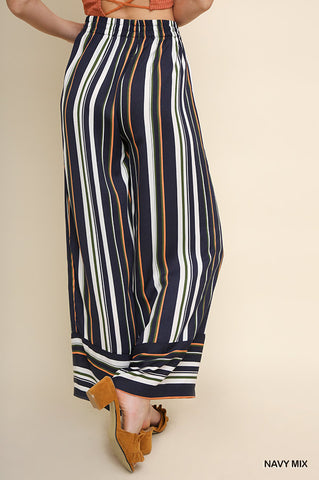 KRISTINA STRIPED WIDE LEG ELASTIC DRAWSTRING PANT