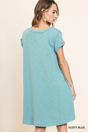 GWEN ROLLED SHORT SLEEVE VNECK DRESS