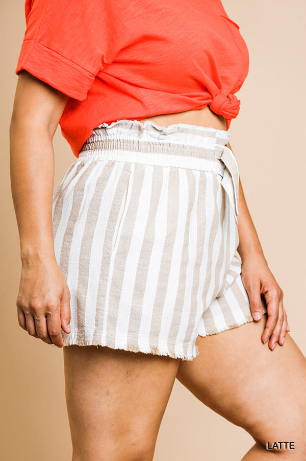 PENNY STRIPED LINDEN BLEND HIGH WAIST FRAYED HEM