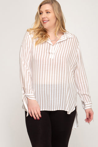 LONG SLEEVE STRIPED WOVEN TOP W/ SLEEVE TIES