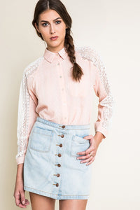 RAQUEL LACE CHAMBRAY TOP