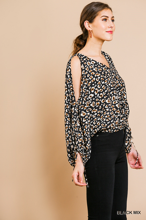 Gianna Animal Print Long Puff Sleeve Open Shoulder V-Neck Top