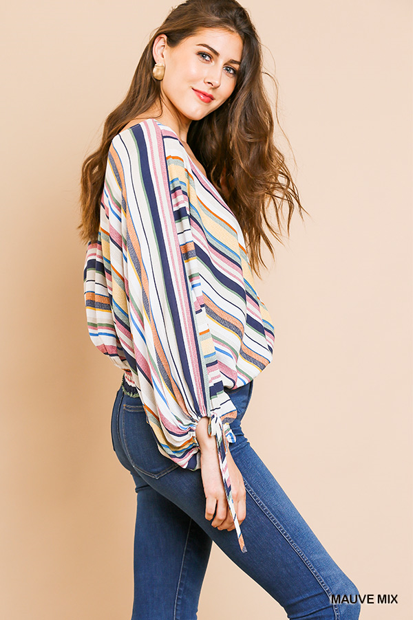 Jada Striped Long Puff Sleeve V-Neck Top with Smocked Waist and Sleeve Ties