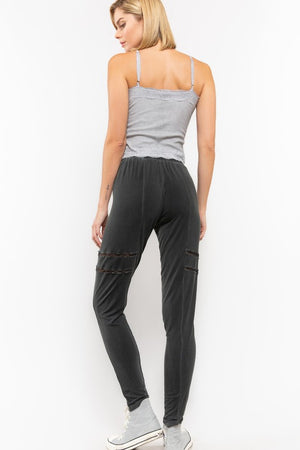 SLIM FIT PANTS WITH SIDE CROCHET ACCENT