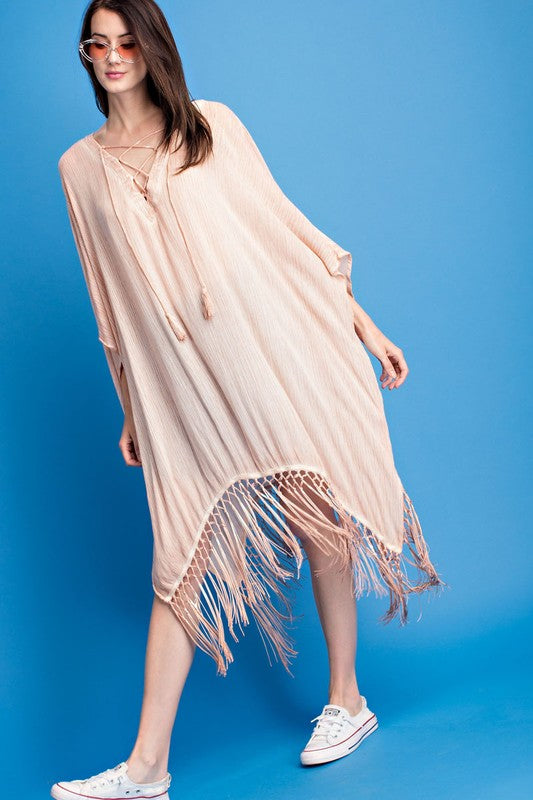 LACE UP PONCHO TUNIC SAGE GREEN