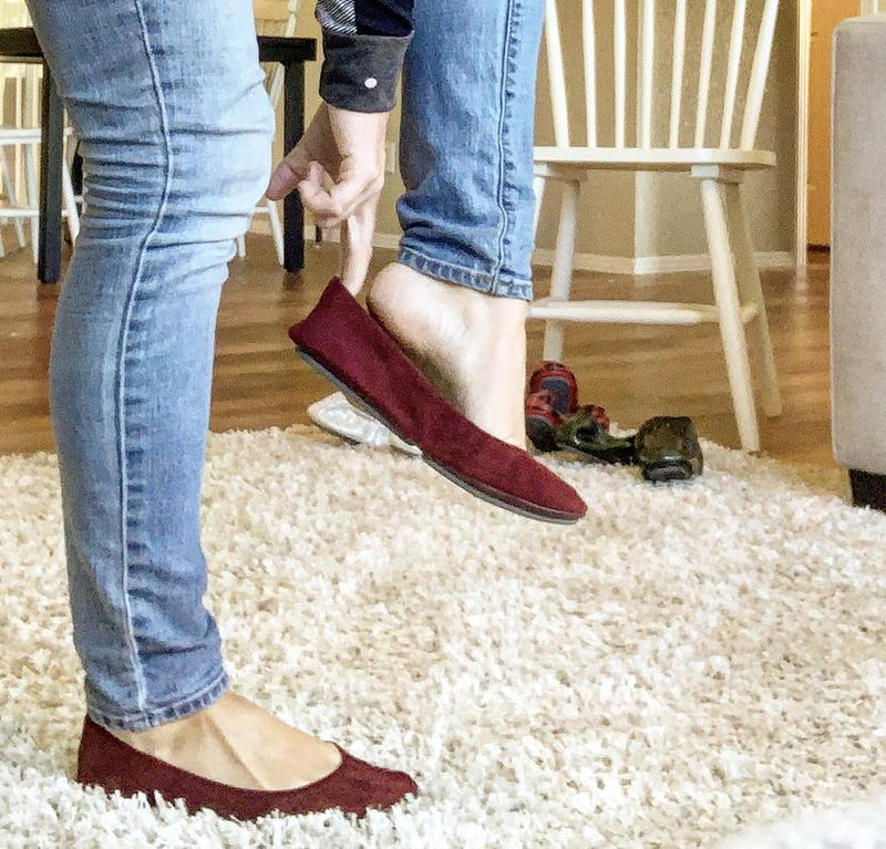 HAPPY FEET FLATS BY STOREHOUSE - WINE SUEDE *FINAL SALE*