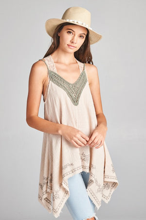 MILANI SOLID TUNIC TOP WITH SHEER CROCHET NECKLINE