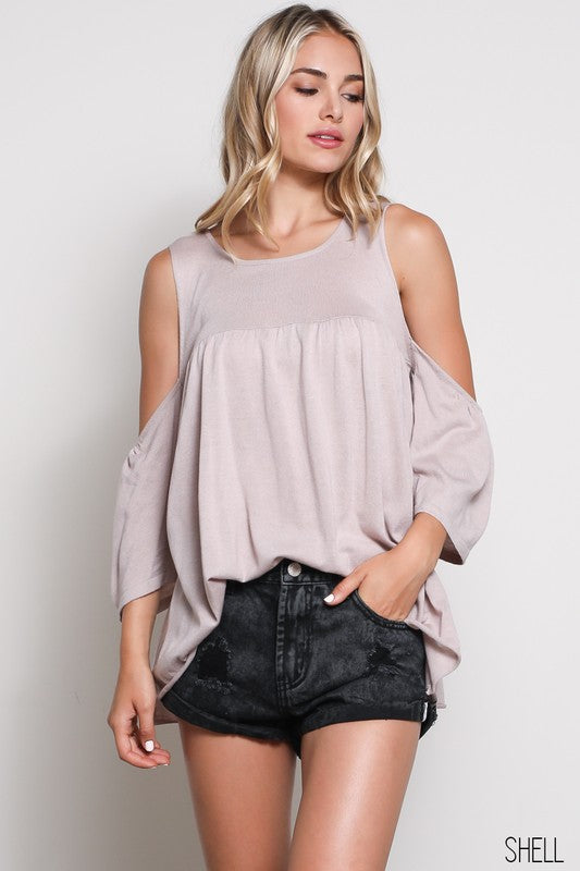 COLD SHOULDER CREW NECK SWEATER TOP