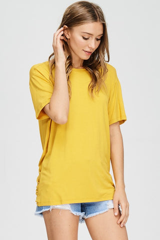 LIBBY SHORT SLEEVES OPEN BACK TIED TOP