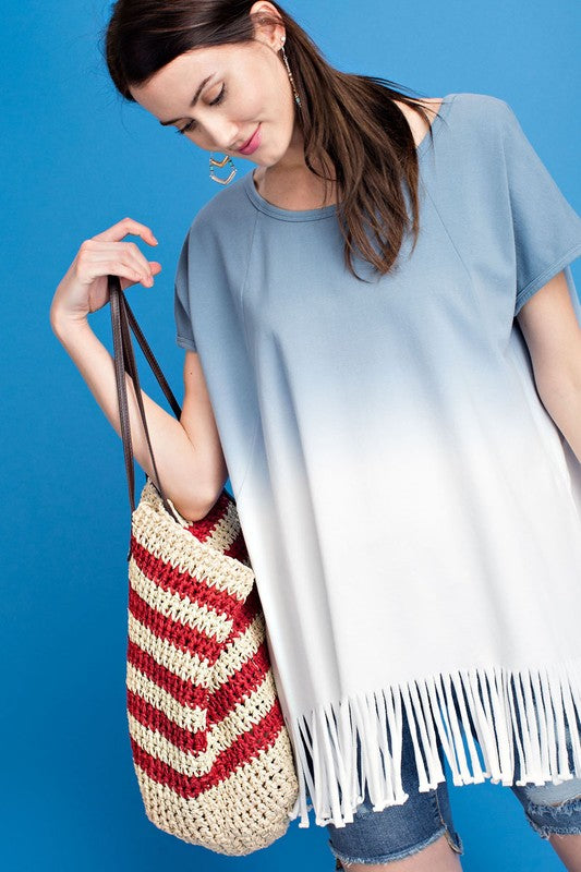 BILLIE OMBRE DYE FRINGE KNIT TUNIC TOP